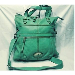 Fossil Extra Large Green Leather Cross bag